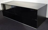 Skjenk / mediabenk til møterom / tv-venk, 120cm bredde, sort høyglans, pent brukt