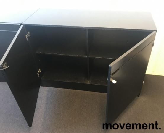 Ringpermreol med dører i sort farge, 120cm bredde, 85cm høyde, 2 permhøyder, pent brukt bilde 2