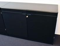 Ringpermreol med dører i sort farge, 120cm bredde, 85cm høyde, 2 permhøyder, pent brukt