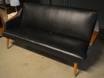 2-seter sofa i sort skai / teak, vintage / retro