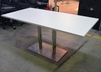 Kompakt møtebord / kantinebord i hvitt / krom, 160x80cm, passer 4 personer, pent brukt understell med ny plate