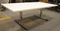 Kompakt møtebord / kantinebord / skrivebord i hvitt / krom, 160x80cm, passer 4 personer, pent brukt understell med ny plate