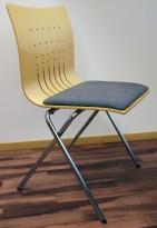 Fora Form X-press, møteromsstol / konferansestol i bjerk / krom med grått stoffsete, pent brukt