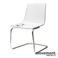 IKEA Tobias konferansestol i transparent plast / krom, pent brukt
