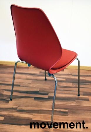 ForaForm City i rød polypropylen, stofftrukket setepute, norsk designklassiker, pent brukt bilde 2