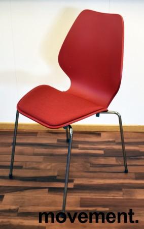 ForaForm City i rød polypropylen, stofftrukket setepute, norsk designklassiker, pent brukt bilde 1