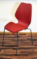 ForaForm City i rød polypropylen, stofftrukket setepute, norsk designklassiker, pent brukt