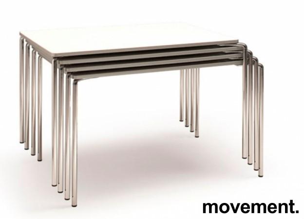 Lekkert kantinebord / arbeidsbord fra ForaForm, modell CLIP, 120x80cm, hvit plate, krom ben, pent brukt bilde 3