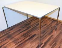 Lekkert kantinebord / arbeidsbord fra ForaForm, modell CLIP, 120x80cm, hvit plate, krom ben, pent brukt