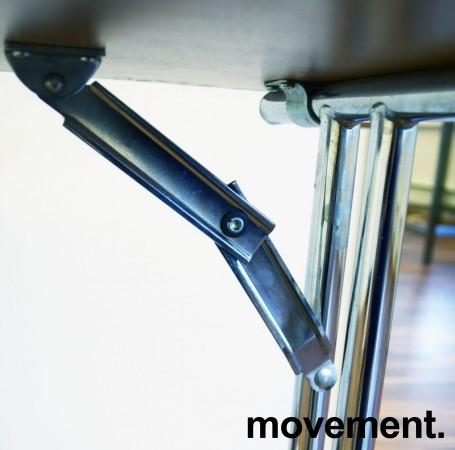 Konferansebord / klappbord i bøk laminat understell i krom, 120x45cm bordplate, brukt med noe slitasje i plater bilde 2