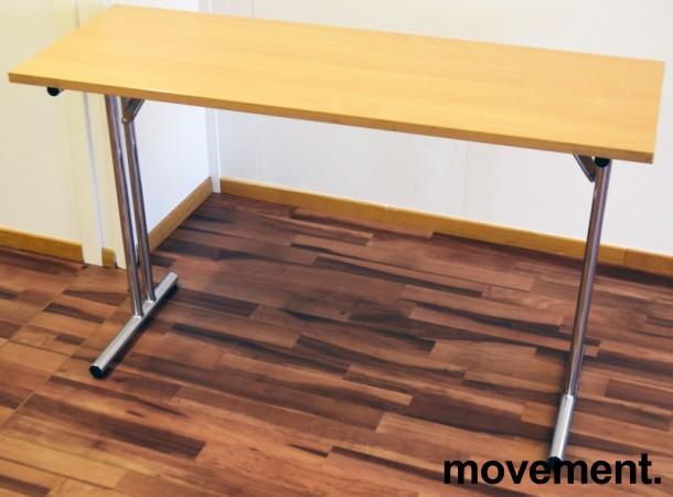 Konferansebord / klappbord i bøk laminat understell i krom, 120x45cm bordplate, brukt med noe slitasje i plater bilde 1