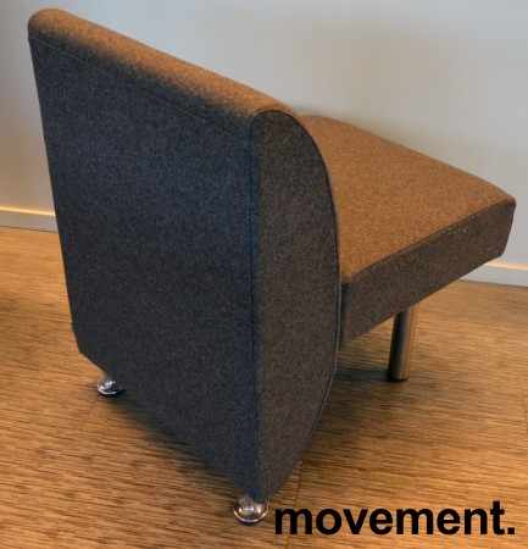 Sittebenk / sofa for kantine e.l i mørk grå ullfilt fra ForaForm, 1-seter, bredde 60cm, pent brukt bilde 2