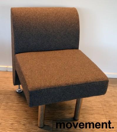 Sittebenk / sofa for kantine e.l i mørk grå ullfilt fra ForaForm, 1-seter, bredde 60cm, pent brukt bilde 1