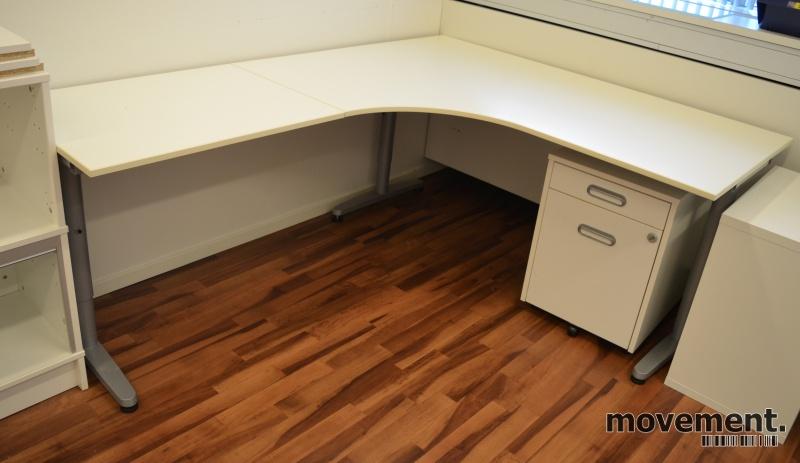 Populære IKEA Galant hjørneløsing /hjørneskrivebord i hvitt, 160x200cm PB-52