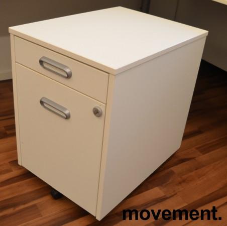 IKEA Galant skuffeseksjon på hjul i hvitt, 2 skuffer + 2 innvendige, kodelås, pent brukt bilde 1