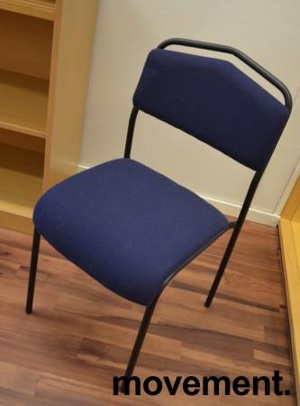 IKEA Särna konferansestol / stablestol i blått stoff, sortlakkert ramme, pent brukt