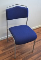 IKEA Särna konferansestol / stablestol i blått stoff, grålakkert ramme, pent brukt