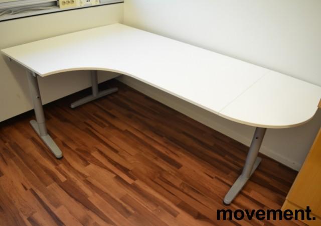 IKEA Galant hjørneløsing / hjørneskrivebord i hvitt, 200x120cm, venstreløsning, pent brukt