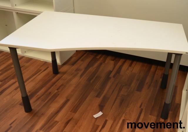 Kinnarps E-serie skrivebord i hvitt, 150x80cm, dybde 60cm på høyre side, pent brukt bilde 2