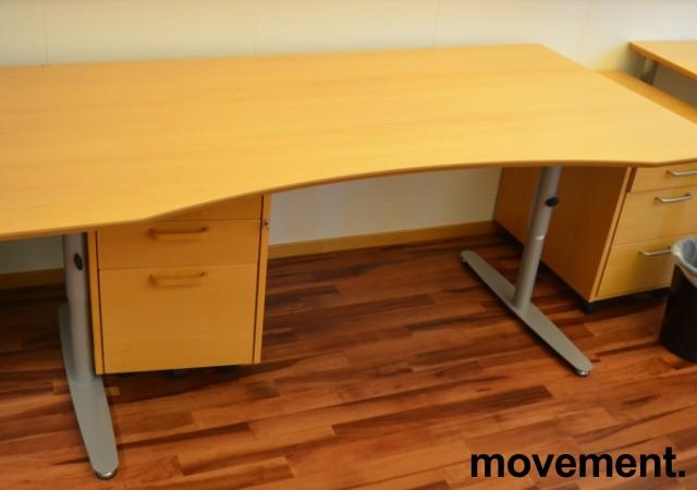 Edsbyn skrivebord i bøk med mavebue, 180x90cm, pent brukt bilde 1