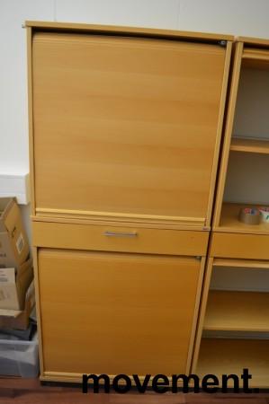 Kinnarps E-serie sjalusiskap i bøk, 4 høyder og skuff, bredde 80cm, høyde 177cm, pent brukt bilde 1