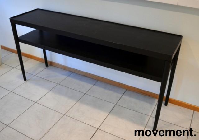 IKEA Stockholm skjenk / sidebord / lav hylle i sortlakkert eikefiner, bredde 150cm, dybde 38, brukt med noe slitasje bilde 1
