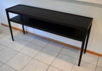 IKEA Stockholm skjenk / sidebord / lav hylle i sortlakkert eikefiner, bredde 150cm, dybde 38, brukt med noe slitasje