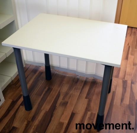 Sidebord til skrivebord 80x60cm i Kinnarps E-serie, hvit, grå ben, pent brukt