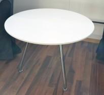 Loungebord i hvitt / krom fra ForaForm, Ø=70cm, høyde 51cm, pent brukt