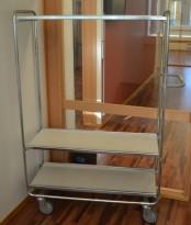 Plukktralle / lagertralle / etasjetralle med 3 hylleplan i stål / hvitt, 105x46cm, brukt