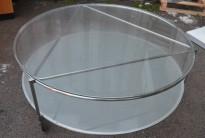 Rundt loungebord på hjul i glass / frostet glass / krom, Ø=100m, høyde 40cm, pent brukt