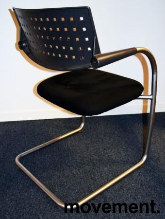 Konferansestol/besøksstol: Vitra Visavis by A. Citterio, i sort mikrofiber, satinert ramme, pent brukt bilde 2