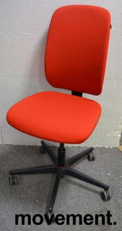 Konferansestol / kontorstol i rødt stoff fra Savo, modell Eos, pent brukt bilde 1