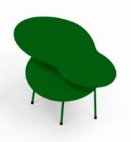 Loungebord i grønnlakkert metall fra Offecct, modell Amazonas, 55x48cm, pent brukt
