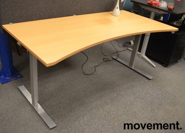 Dencon skrivebord med elektrisk hevsenk i bøk, 180x90cm, mavebue, NY PLATE / pent brukt understell bilde 1
