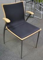 Konferansestol fra Skeie i bjerk / grått stoff, pent brukt