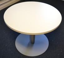 Lavt, rundt loungebord Ø=70cm H=56cm i hvitt, pent brukt