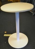 Barbord / ståbord i hvitt, Ø=70cm, høyde 105cm, pent brukt understell med ny plate