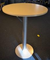 Barbord / ståbord i hvitt / grått, Ø=80, høyde 113cm, pent brukt