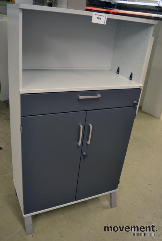 Kinnarps E-serie ringpermreol med dører, lys grå med dører i mørk grå, 3 permhøyder + skuff, 148cm høyde, pent brukt bilde 1