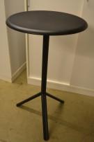 Barbord / ståbord i sort fra Plank, modell Miura, kan klappes sammen, Ø=60cm, høyde 108cm, pent brukt