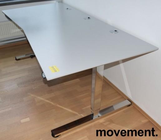 Stort, elektrisk hevsenk skrivebord fra Martela i gråbeige laminat / krom understell, 210x100cm, pent brukt bilde 2
