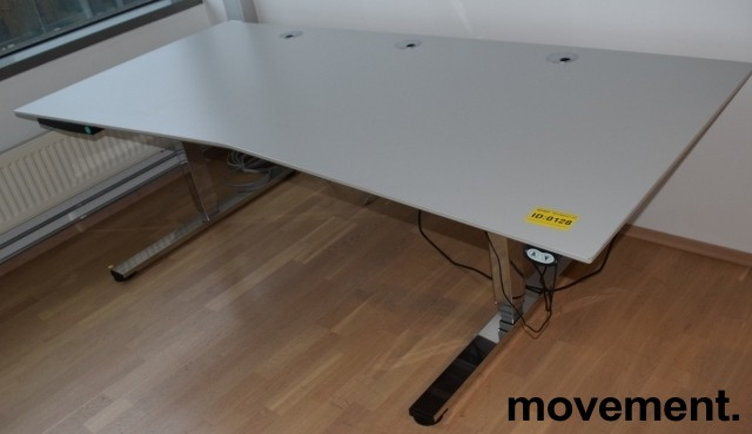Stort, elektrisk hevsenk skrivebord fra Martela i gråbeige laminat / krom understell, 210x100cm, pent brukt bilde 4