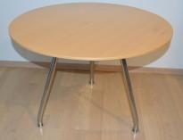 Lavt, rundt loungebord i bøk / krom, ForaForm Burell-serie, Ø=70, H=50, Circus Design, pent brukt, noe slitasje plate