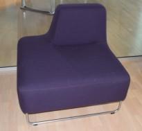 UGO sofa i dyp lilla fra LK Hjelle, 1seter modul,  rygg på høyre side, pent brukt