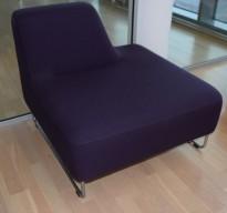 UGO sofa i dyp lilla fra LK Hjelle, 1seter modul,  rygg på venstre side, pent brukt