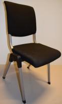 Håg Conventio 9520, stablebar, lettvekts konferansestol i sort / grå ben, pent brukt