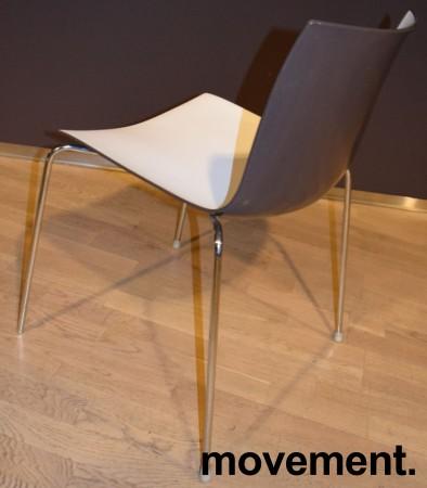 Arper Catifa 46, stablebar design-stol i plast/krom, Hvitt sete / mørk brun rygg, pent brukt bilde 2