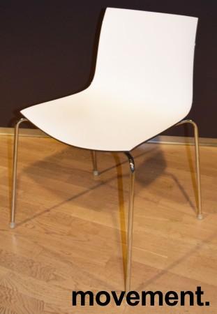 Arper Catifa 46, stablebar design-stol i plast/krom, Hvitt sete / mørk brun rygg, pent brukt bilde 1