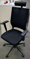 Sedus kontorstol, høy rygg og nakkepute, armlene, sort / mesh, pent brukt